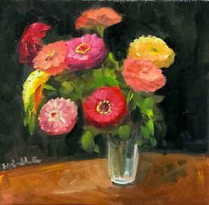 Original oil painting on canvas zinnias contemporary art red yellow pink quirky