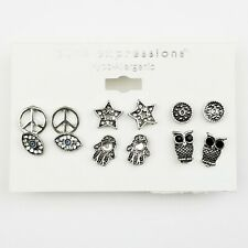 NEW Boho Earrings Set of 6 Pair Silver Pewter Owls Peace Signs Hands Studs
