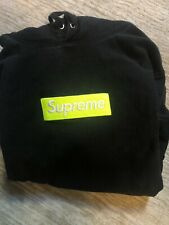 Supreme Black & Lime Box Logo Mens Hoodie (Medium)