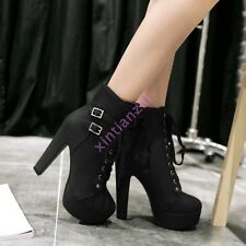 New Punk womens Ladies ankle boots Lace Up high heels Chic buckle platform Shoes
