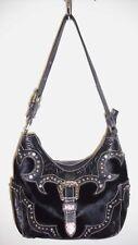 AMERICAN WEST Shoulder Bag Black Hair-On Hide Tooled Leather Western Handbag