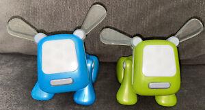 Lot of 2 iDog Pup Speaker Blue and Green Hasbro Sega Toys I-Dog