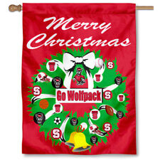 Nc State Wolfpack Merry Christmas Wreath Decorative Holiday Wreath House Flag