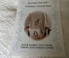 BEATRIX POTTER  PETER RABBIT COT COVER, THROW & CUSHION COVER KNITTING PATTERN,