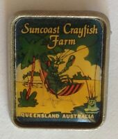 Suncaost Crayfish Farm Queensland Australia Pin Badge Rare Vintage Souvenir (G4)