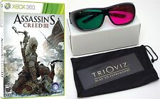 NEW SEALED Assassin's Creed III XBOX 360 Video Game and TriOviz 3D Glasses combo