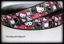 "1YD 1"" HELLO KITTY COLLAGE CRAFTS HAIRBOW PRINTED GROSGRAIN RIBBON HOT PINK WHT"