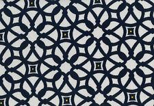 Sunbrella Indoor Outdoor Geometric Upholstery Fabric Luxe Indigo Blue 45690-0000
