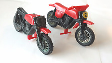 """Lot Of (2) Vintage Plastic & Diecast Toy Motorcycle; 1970s? red, 3.25"""", As Is"""