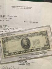 1985 $20 FRN  MAJOR ERROR 3rd Printing MISSING & LETTER FROM SECRET SERVICE LOOK