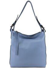 T Tahari Women's Kerry Leather Bucket Bag Slate Blue NWT Free Shipping