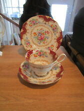 Royal Albert Canterbury Cup & Saucer TRIO-Red Panels, Tan Scrolls, Floral