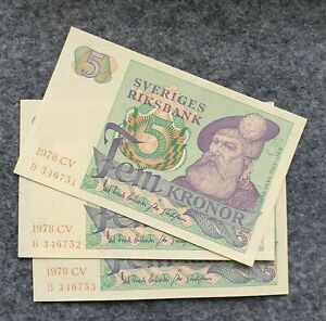 SWEDEN 5 KRONOR 1978 3 pcs consecutive numbers banknotes UNC