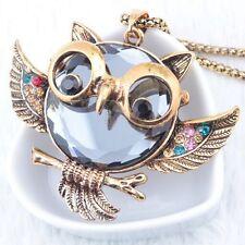 Vintage Eule Halskette Damen Eulenkette Kette Owl Anhänger Frauen Modeschmuck