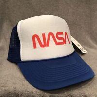 NASA Trucker Hat Space Program Old Logo Vintage Style Snapback Cap Blue 2189
