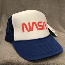 NASA Trucker Hat Space Program Old Logo Vintage Style Snapback Cap Blue 2189