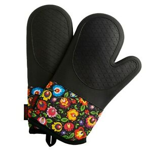 Pair Silicone Oven Gloves Mitts with Magnets Heat Resistant Kitchen Cooking BBQ