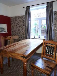 solid sheesham wood jali large fixed dining table