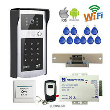 Wireless Wifi Video Intercom Door Phone RFID Keypad Doorbell Camera Strike Lock
