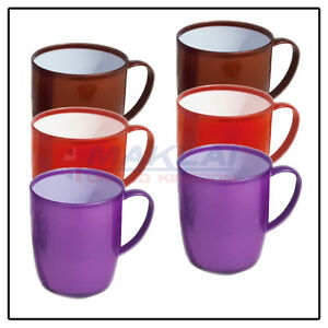6 x COLOURFUL PLASTIC MUGS Reusable Drinking Cups Tea Coffee Camping Picnic Kids