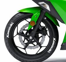 Kawasaki white tire stickers , tire decals, lettering for motorcycle, 10 pack
