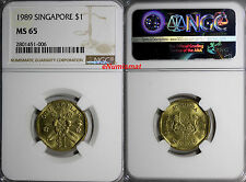 Singapore REPUBLIC OF SINGAPORE 1989 $1.00 Dollar NGC MS65 KM# 54b