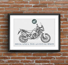 Honda Africa Twin Adventure Sports Art Sketch Poster [without frame]