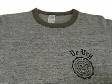 Vintage 80s (M) DEVRY Institute Technology Chicago College Ringer Tee Gray Thin