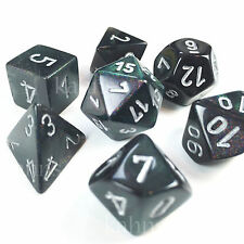 Chessex Dice Poly Set of 7 Borealis Smoke w/ Silver - 27428 - FREE BAG!