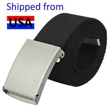 "Webbing Web Military Style Canvas Belt Nickel Buckle and Tip Length 46"" Black"