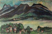 Adolf Bürger - Landschaft am Tegernsee - Öl auf Mdf - 1959
