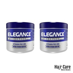 (2X) ELEGANCE Strong Hold Hair Styling Gel - Vitamins Protection Hair Gel -250ml
