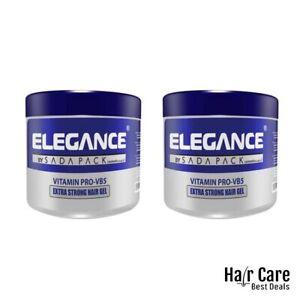 (2X) ELEGANCE Strong Hold Hair Styling Gel - Vitamins Protection Hair Gel -250ml
