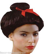 Femmes Noir Japonais Oriental Chinois Arc Rouge Costume Déguisement Perruque