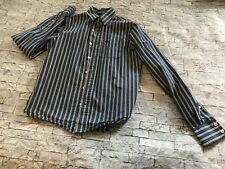 Boys Size Large Abercrombie Striped Blue Button Down Dress Casual Shirt Preowned