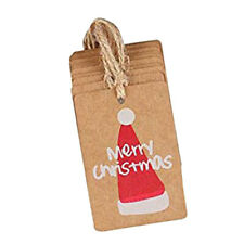 100x Christmas Kraft Paper Gift Tags Price Labels Christmas Hat Pattern