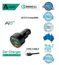 GENUINE AUKEY CC-T7 QC 3.0 34.5W 2 Port USB Car Quick Charger Top High Speed
