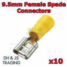 10 x 9.5mm Yellow Female Spade Terminal Connector Crimp On Alternator Splice