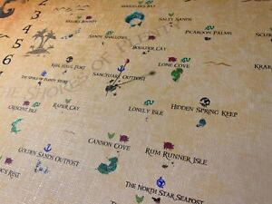 Sea of Thieves world map print 24 x 36''  Parchment adhesive poster SOT Charts