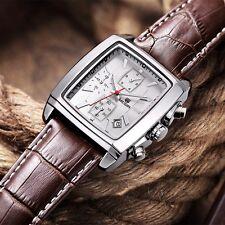 Belle Montre Chronographe de Luxe Classique pour Homme Megir Cuir Date, Neuve