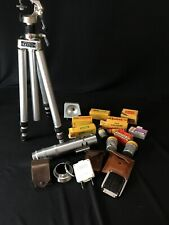 Lot of Vintage Camera Accessories Film 120mm & 35mm Kodak Gevaert, Stand, Meter