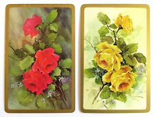 PAIR VINTAGE SWAP CARDS. ROSES. RED & YELLOW ROSE FLOWERS WITH FORGET-ME-NOTS