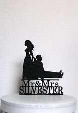 Personalized Funny Wedding Cake Topper - Bride Dragging Groom with Mr & Mrs your