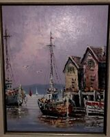 Fine Midcentury Impressionist Oil Painting Of Seaside Signed By Caldi - Framed
