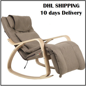 NEW Electric Rocking Massage Chair Wood Recliner Removable Cushion Cover