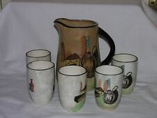 Vintage Royal Sealy Capri Pitcher and 5 Piece Cup Set Japan