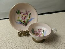 Porcelain Hand Painted Cup & saucer on stand_Beautiful_daffodil design_Fern Co.