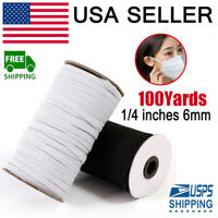100 Yards Braided Elastic Band Cord Knit 1/4 inches width (6mm) White USA Stock