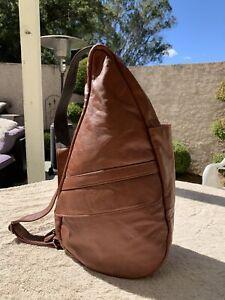 """ameribag rich brown leather 19"""" Medium healthy back bag multi pocket sling"""