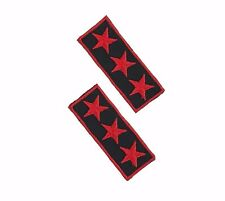3 Star General Embroidered Patch Iron On Applique Military Army Rank Collar Red